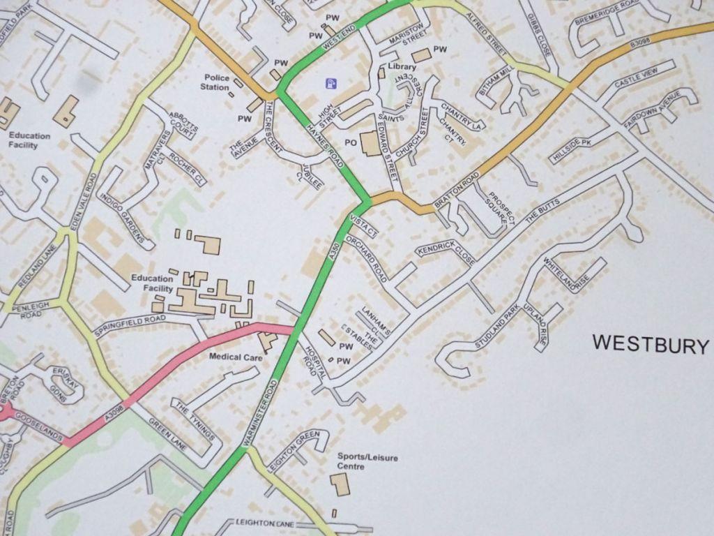 Westbury Town Street Map