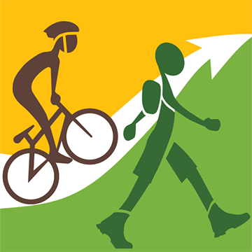 illustration of a walker and cyclist