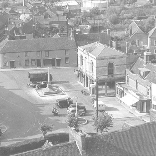 Aerial view of Westbury Market Square
